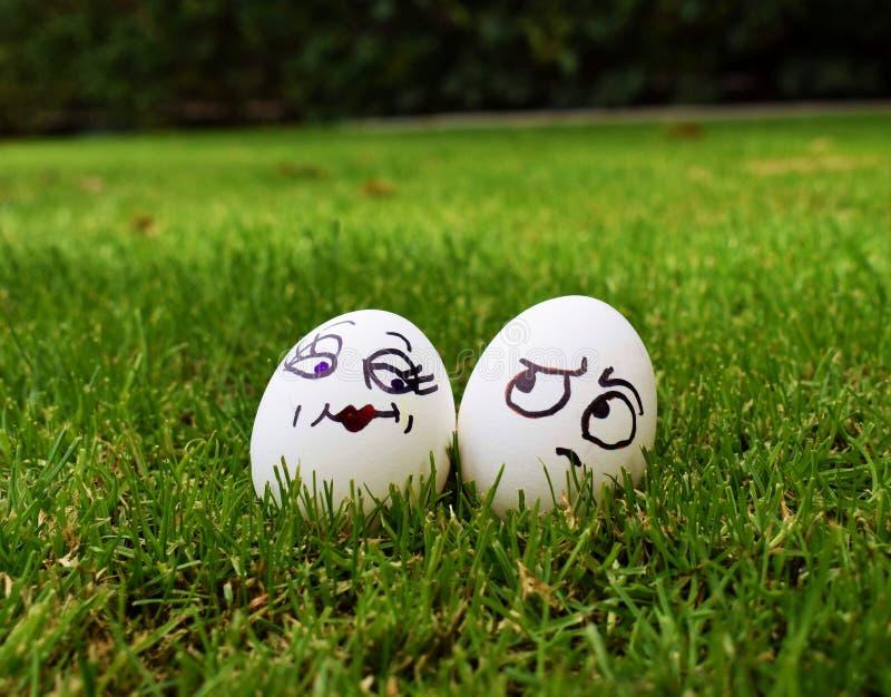 Charakterów jajka z wyrazami twarzy w trawie obrazy royalty free