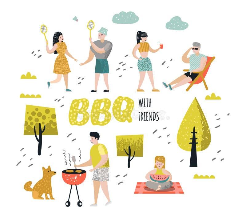 Charakterów ludzie na BBQ przyjęciu Przyjaciele na lato grillu i grillu Plenerowy Kulinarny mięso Rodzinny pinkin ilustracja wektor