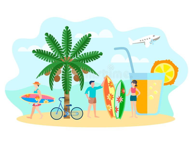Charakterów surfingowowie na plaży, odświeżający napój, kokosowa palma royalty ilustracja
