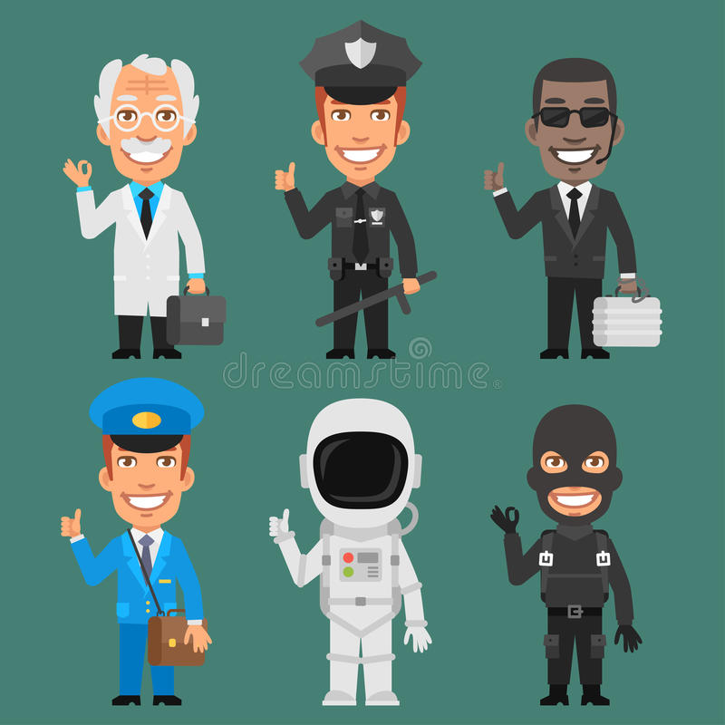 Charakterów zawodów Różna część 7 ilustracja wektor