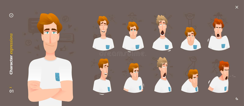 Charakter-Ausdrücke Gesichts-Mann-Gefühle stock abbildung