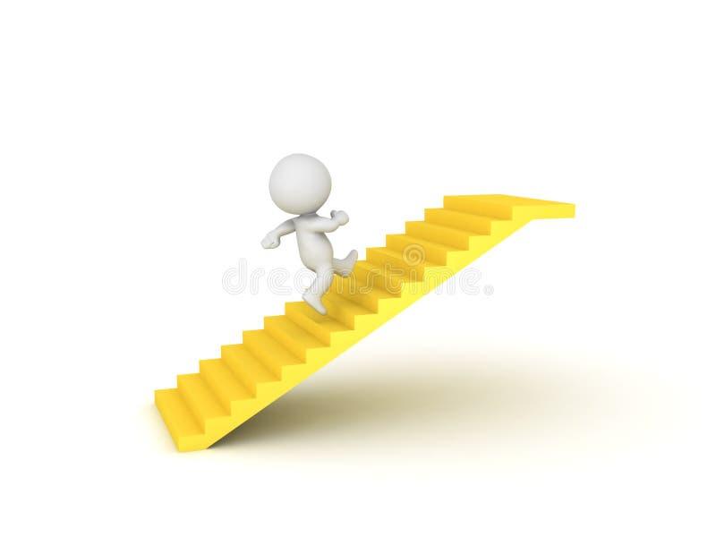 Charakter 3D, der auf goldenem Treppenhaus läuft stock abbildung
