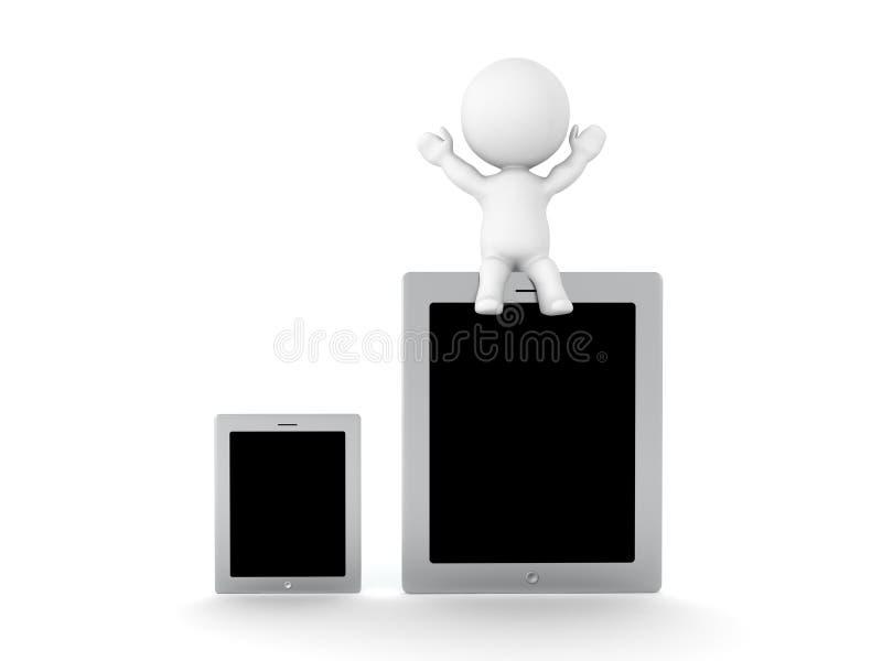 Charakter 3D, der auf großes Tablettengerät nahe bei einem sma sitzt lizenzfreie abbildung