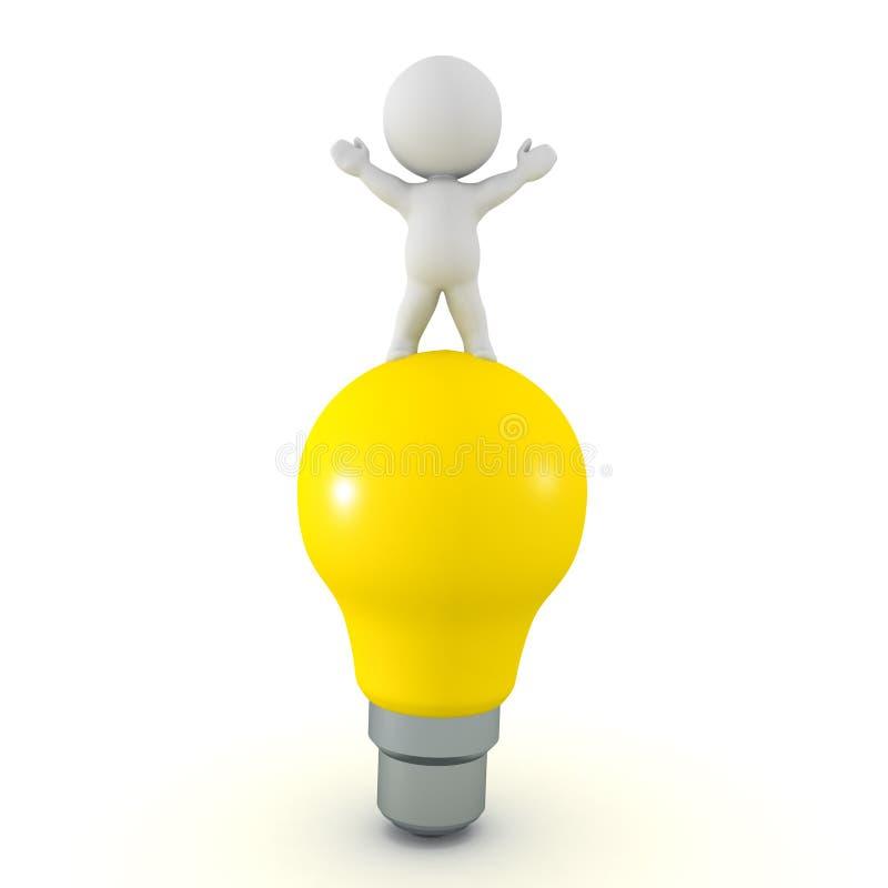 Charakter 3D, der auf helle Glühlampe steht vektor abbildung