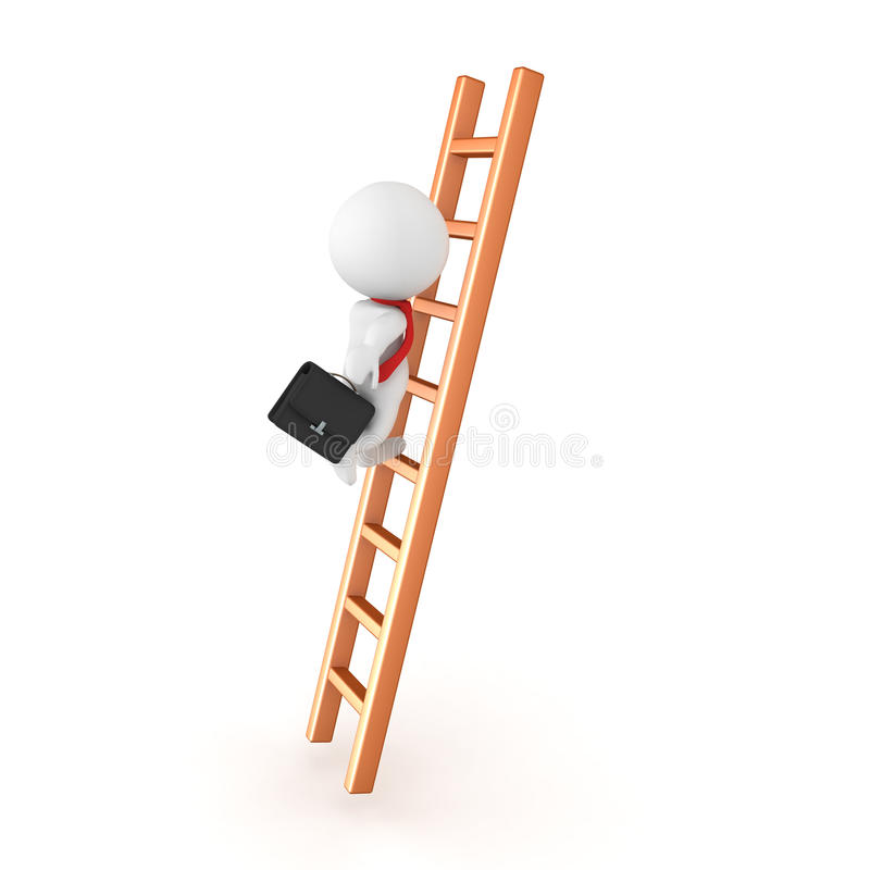 Charakter 3D, der die Unternehmensleiter klettert stock abbildung