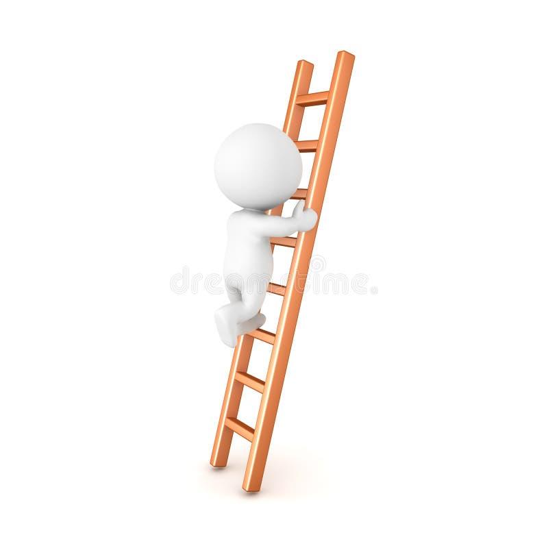 Charakter 3D, der eine Leiter klettert stock abbildung