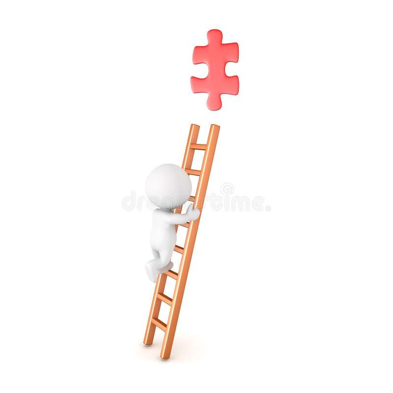 Charakter 3D, der eine Leiter klettert und versucht, ein rotes Puzzlespiel p zu ergreifen vektor abbildung