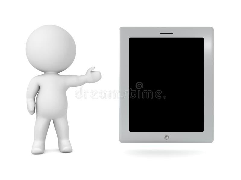 Charakter 3D, der generisches Tablet zeigt lizenzfreie abbildung