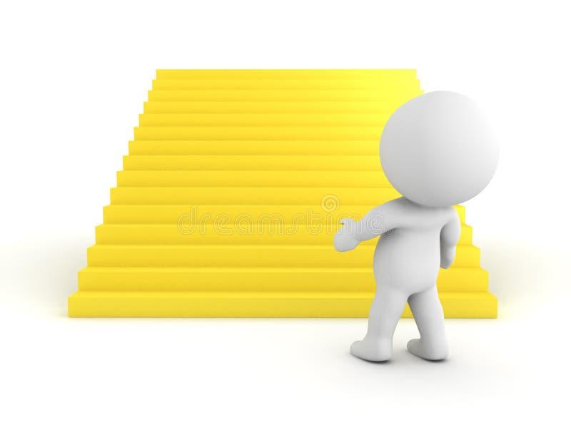 Charakter 3D, der große goldene Treppe betrachtet stock abbildung