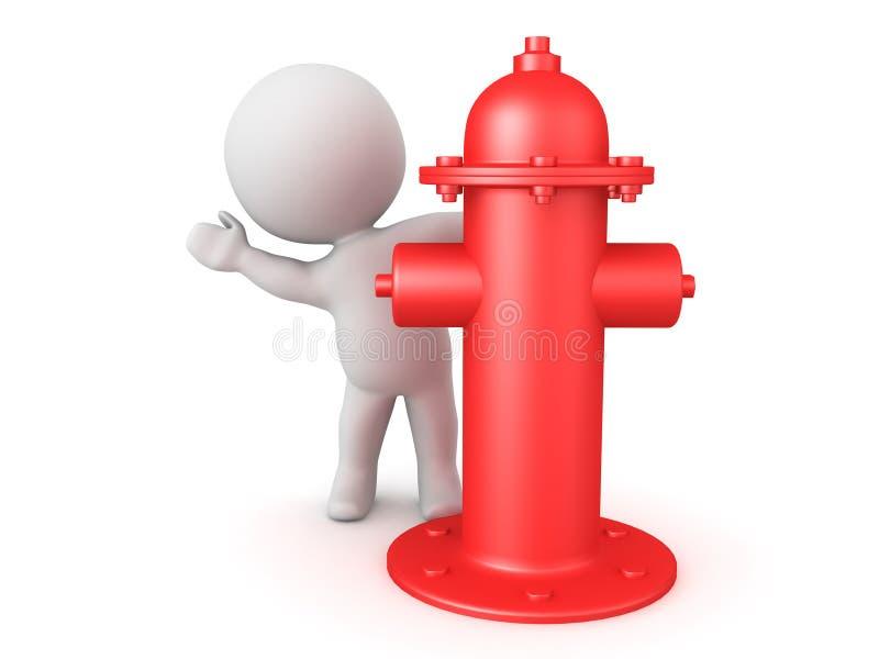 Charakter 3D, der hinter rotem Hydranten sich versteckt vektor abbildung