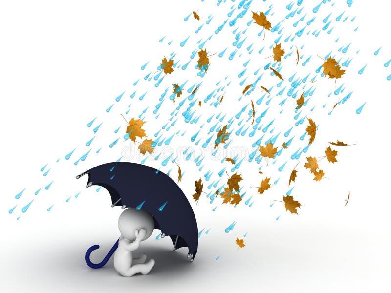 Charakter 3D, der unter Regenschirm vom Wind und vom Regen sich versteckt lizenzfreie abbildung