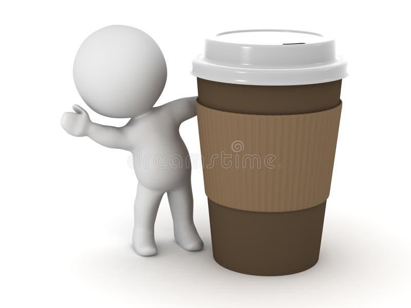 Charakter 3D, der von hinten Kaffeetasse wellenartig bewegt vektor abbildung
