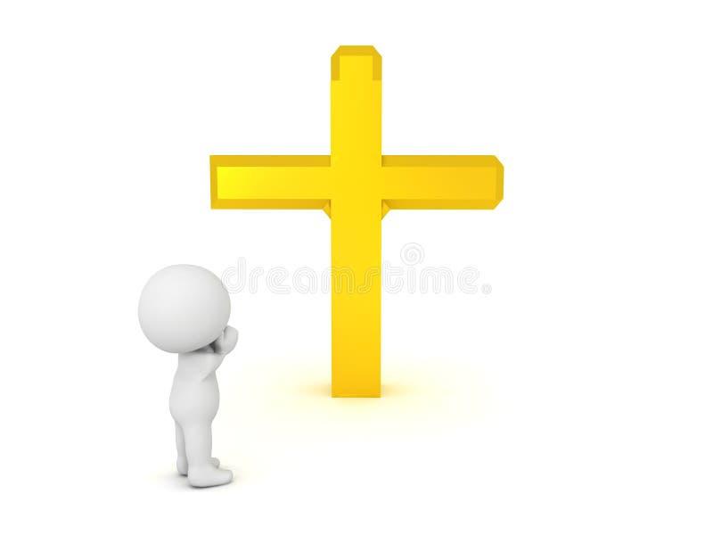 Charakter 3D, der zum goldenen Kreuz betet vektor abbildung