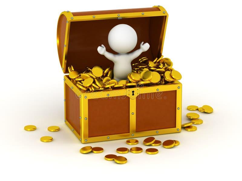 Charakter 3D innerhalb der Schatztruhe mit Goldmünzen vektor abbildung
