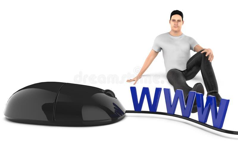 Charakter 3d, Mann, der nahe bei WWW-Text sitzen und Maus vektor abbildung