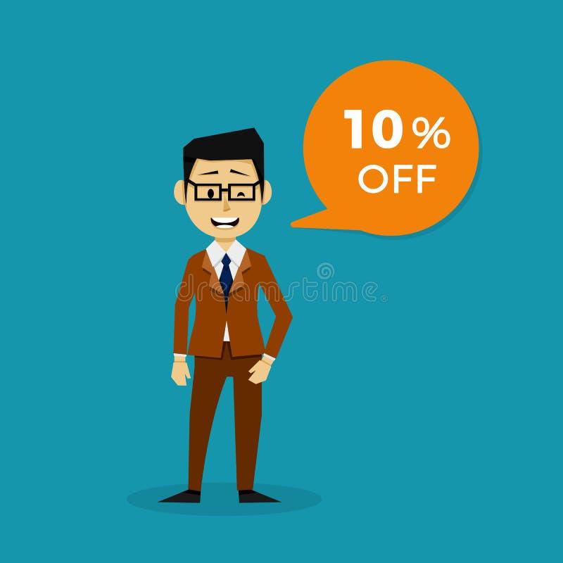 Charakter, der den 10 Rabatt-Verkauf ankündigt lizenzfreie abbildung