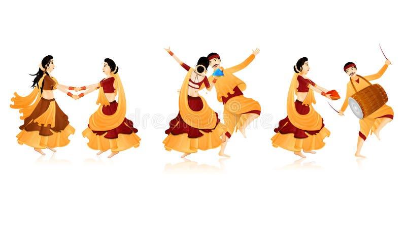 Charakter der glücklichen Paare in tanzender Haltung vektor abbildung