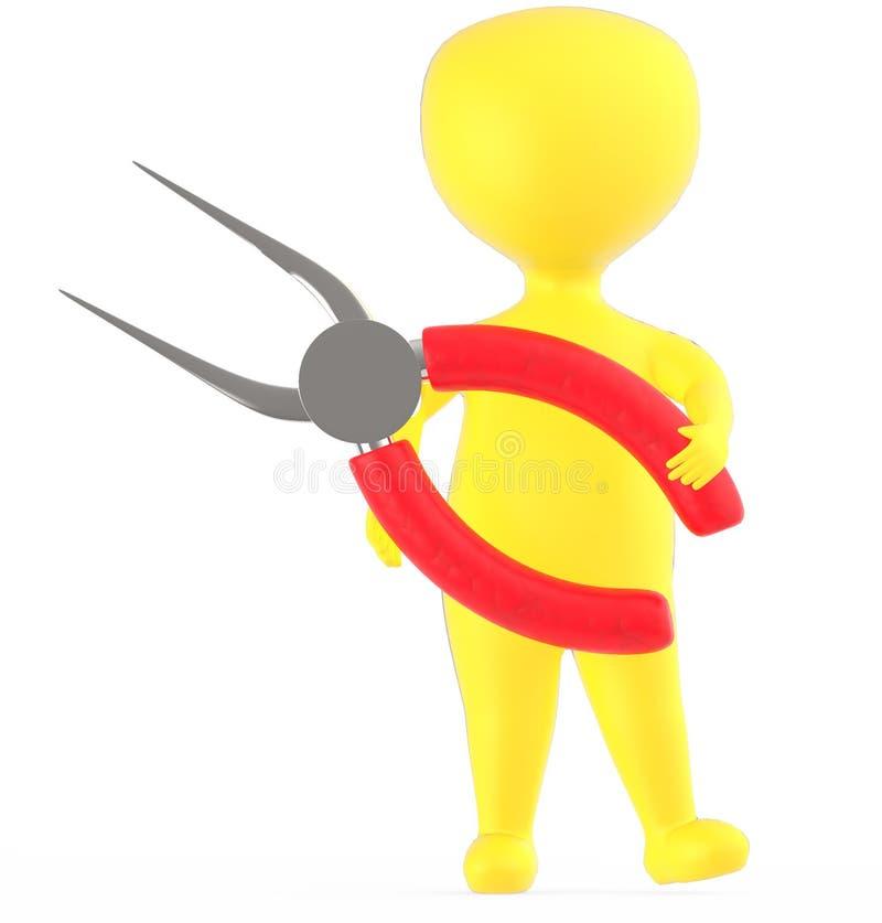 Charakter des Gelbs 3d, halten langnasige Zangen stock abbildung