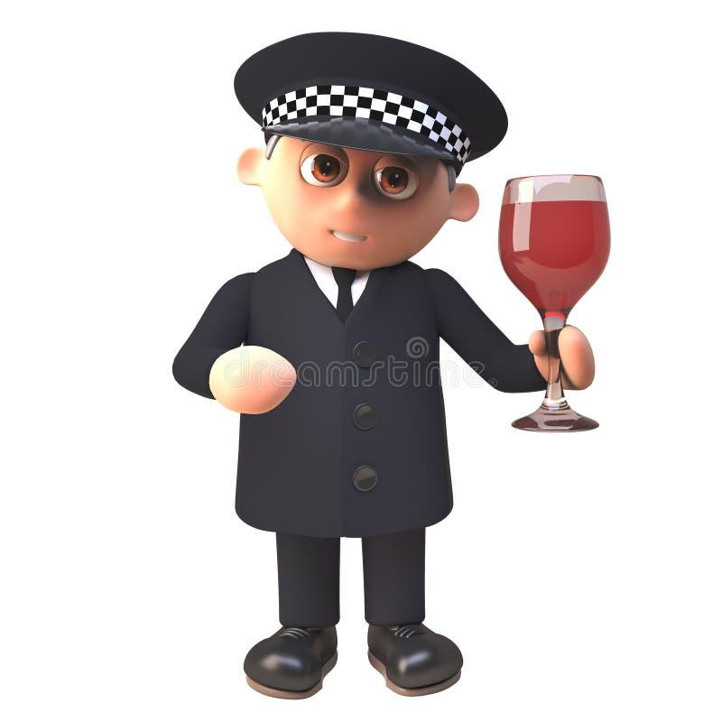 Charakter des Polizeibeamtepolizisten 3d, der ein Glas Wein hält und Alkoholspiegel, Illustration 3d überprüft lizenzfreie abbildung