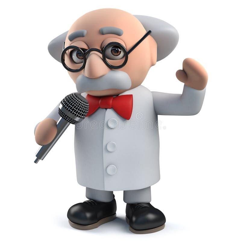 Charakter des verrückten Wissenschaftlers 3d, der in ein Mikrofon singt vektor abbildung