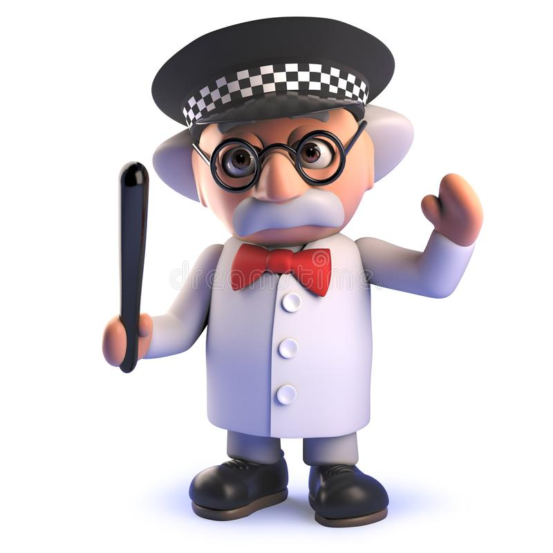 Charakter des verrückten Wissenschaftlers der Karikatur 3d, der einen Polizeisturzhelm trägt und einen Schlagstock hält lizenzfreie abbildung