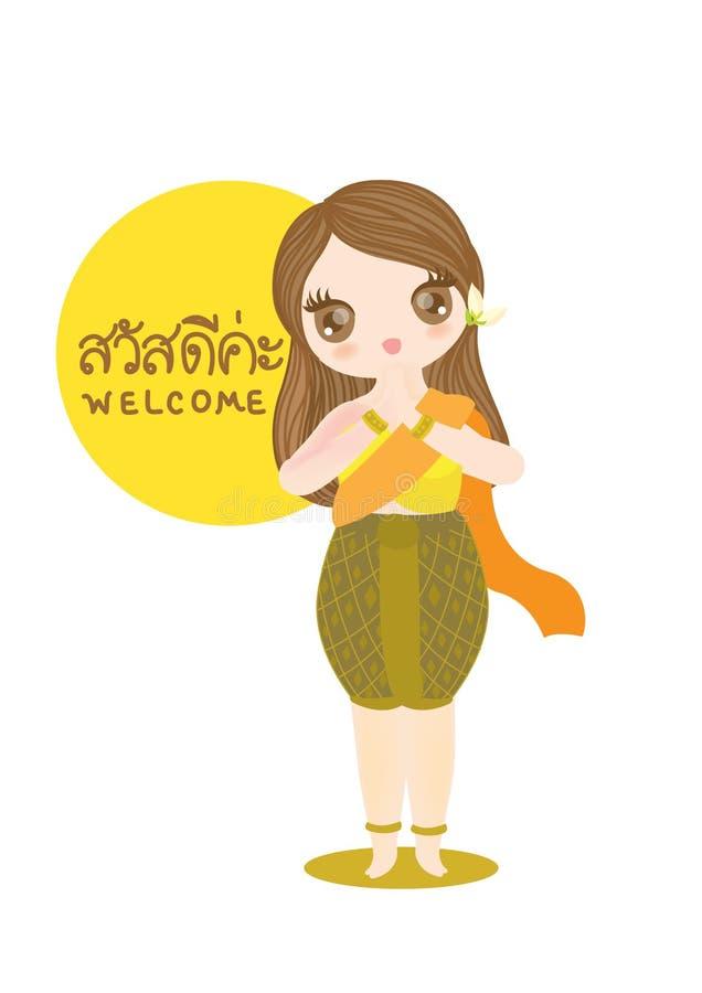 Charakter dziewczyny tajlandzki tekst ilustracji