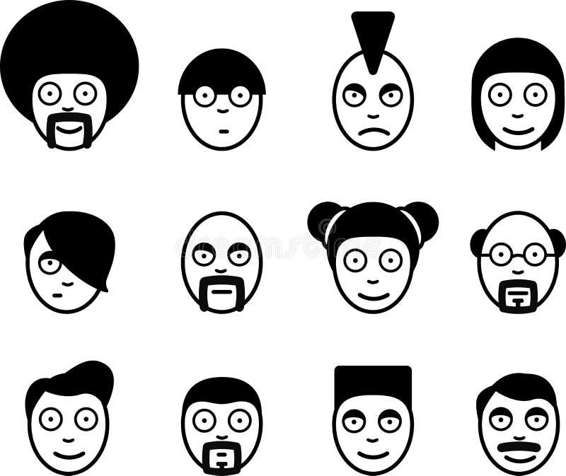 Charakter ikony set ilustracji