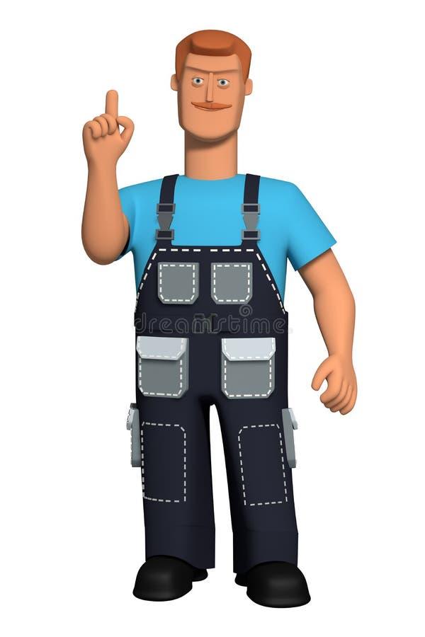 Charakter Illustration 3d Mann A in einer Arbeitsuniform mit einem roten Schnurrbart erregt Aufmerksamkeit Angehobener oben Zeige stock abbildung