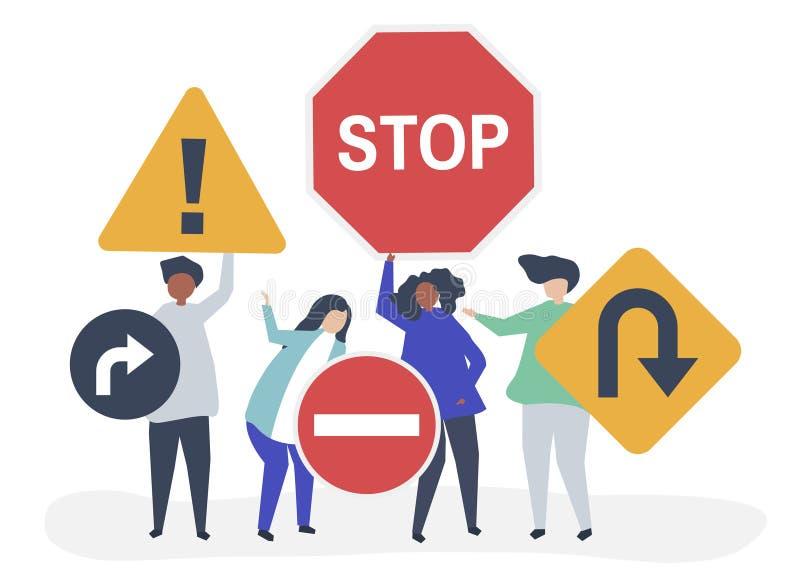 Charakter ilustracja ludzie z ruchu drogowego znaka ikonami ilustracja wektor