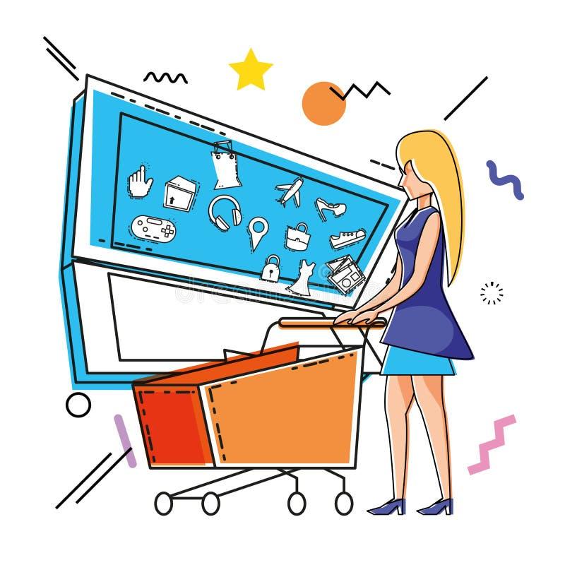 Charakter kobieta z robić zakupy online ikony royalty ilustracja