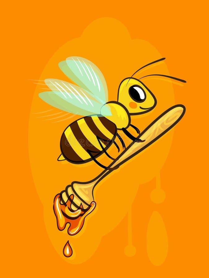 Charakter kreskówki dobra pszczoła niesie miód w drewnianym wiadrze dla miodu, miodowa chochla Ilustracja w wektorze dla druku lu ilustracja wektor