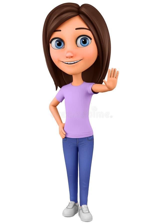 Charakter kreskówki dziewczyny przedstawień ręki przerwa na białym tle ?wiadczenia 3 d reklamowa ilustracyjna sprzeda? royalty ilustracja
