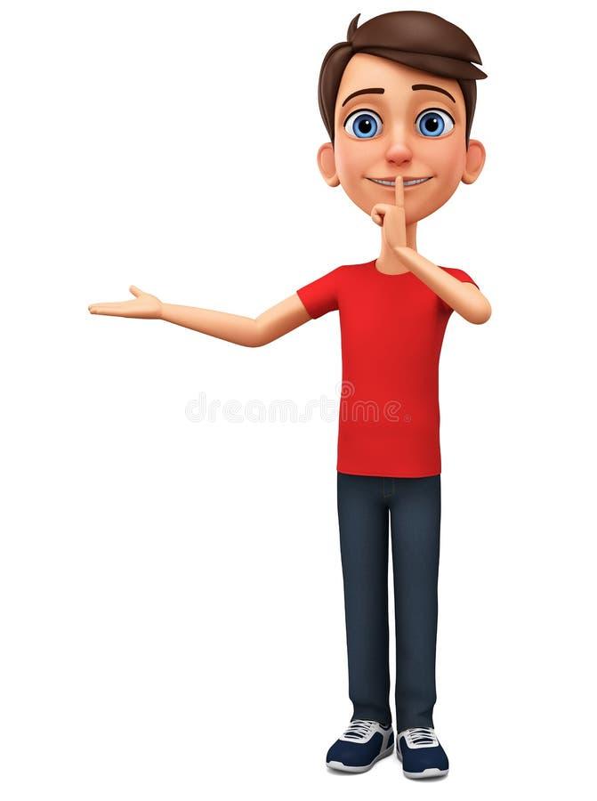 Charakter kreskówki facet pokazuje sekret ?wiadczenia 3 d reklamowa ilustracyjna sprzeda? ilustracja wektor