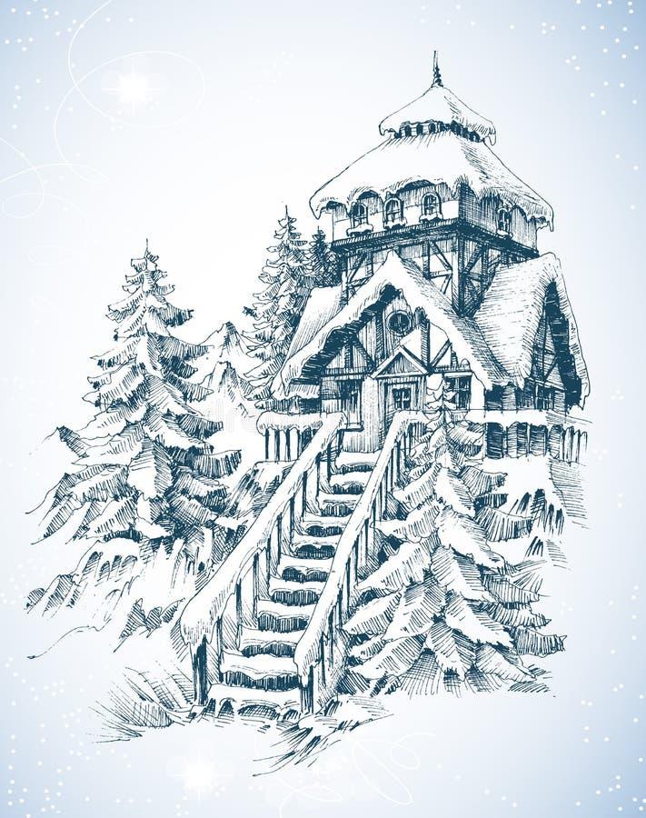 charakter leśna zimy słońca royalty ilustracja