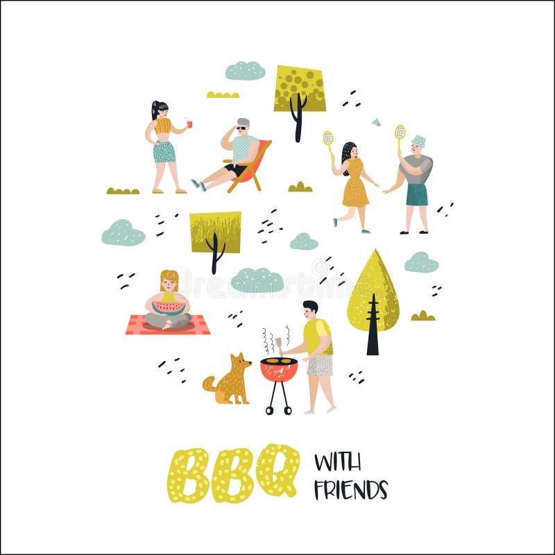 Charakter-Leute auf BBQ-Partei Freunde auf Sommer-Grill und Grill Kochendes Fleisch im Freien Vierköpfige Familie im Herbstwald stock abbildung