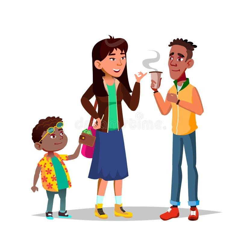 Charakter Little Boy Kraść kobieta pieniądze wektor royalty ilustracja