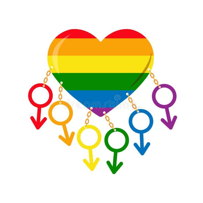 Charakter męskość przykuwał serce w colours LGBT royalty ilustracja