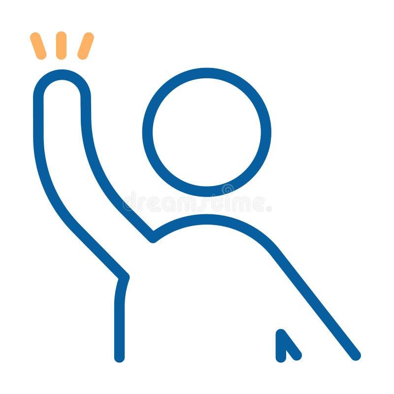 Charakter mit Arm angehobenem bereitem, etwas oder Handwelle zu helfen, zu beantworten, zu fragen Dünne Linie Ikonenillustration  lizenzfreie abbildung