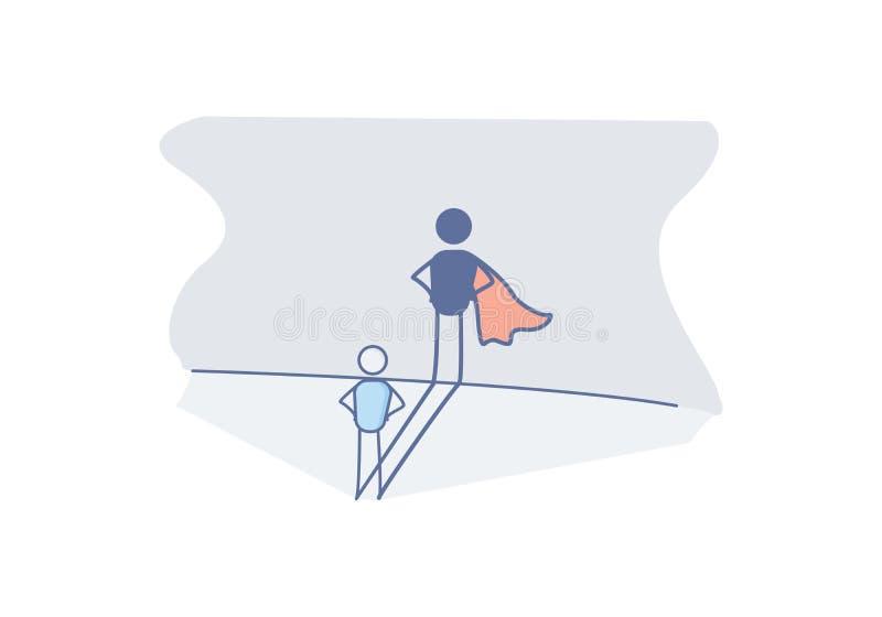 Charakter mit einem Superheldschatten, der Erfolg im Leben, preserverance, Mut, Ehrgeiz darstellt Vektorgekritzel vektor abbildung