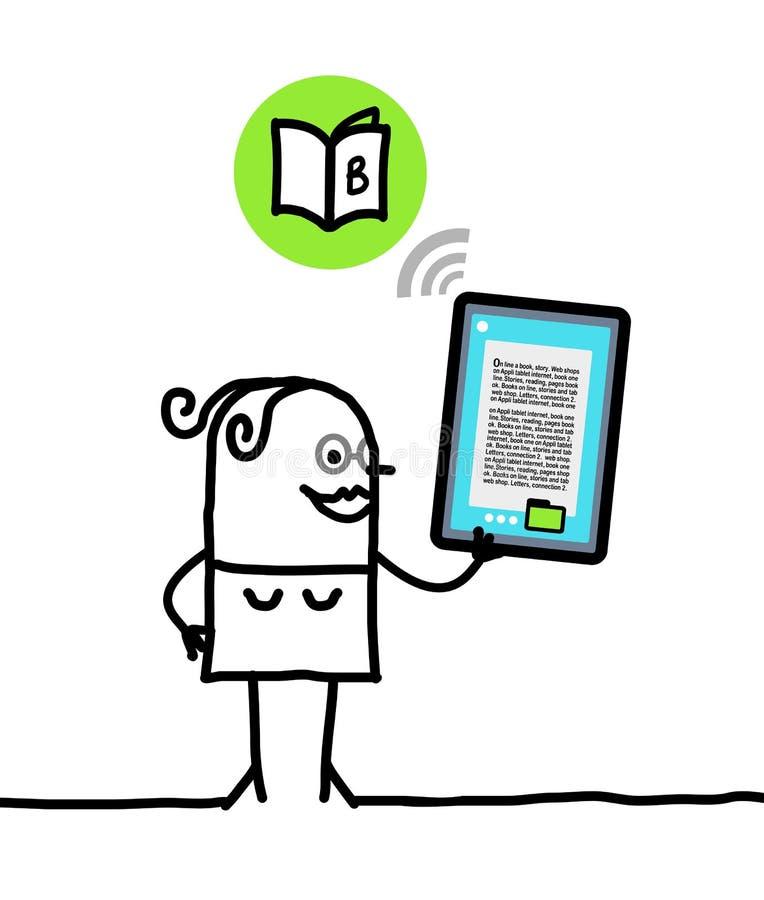 Charakter mit Tablette - Buch lizenzfreie abbildung