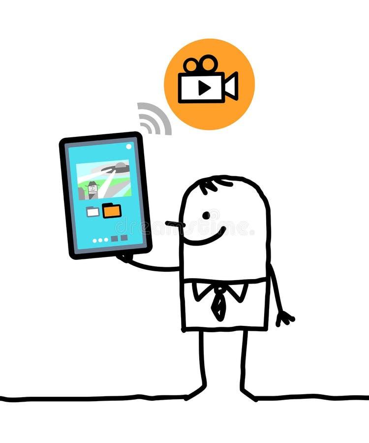 Charakter mit Tablette - Video stock abbildung