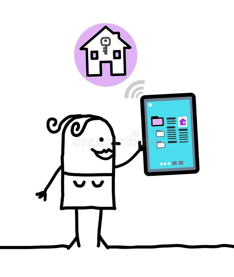 Charakter mit Tablette - Wohnung vektor abbildung