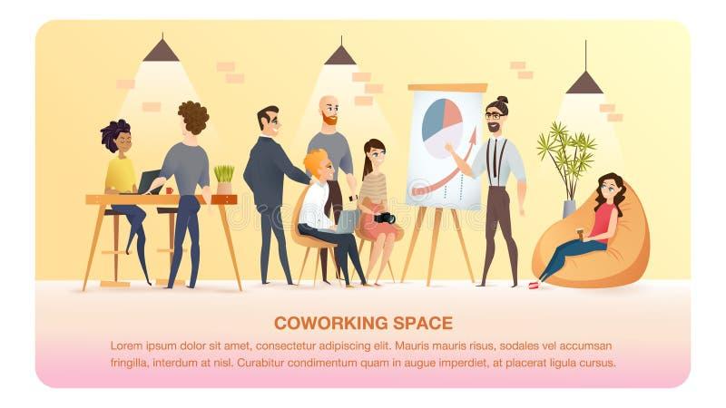 Charakter nauka w Coworking terenu sztandarze i praca royalty ilustracja
