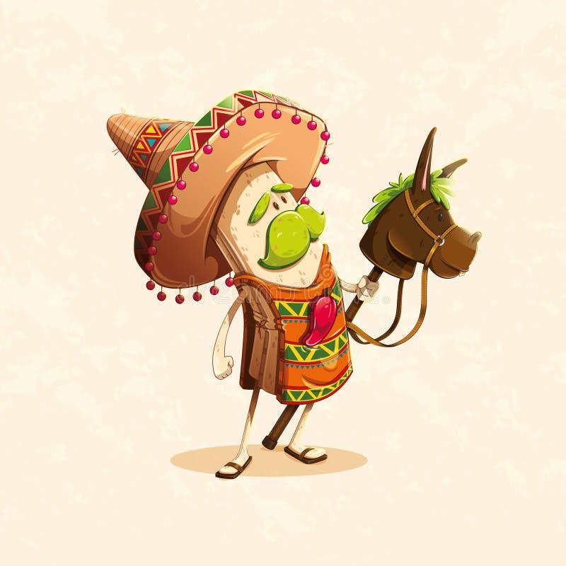 Charakter opierający się na burrito, typowy Meksykański jedzenie ilustracji