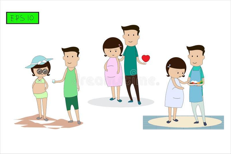 Charakter postura i aktywność rodzice Środki ostrożności zapobiegać gestational cukrzyca bezwład ilustracja wektor