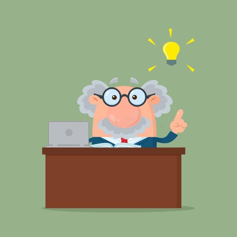 Charakter Professor-Or Scientist Cartoon hinter Schreibtisch mit einer großen Idee vektor abbildung