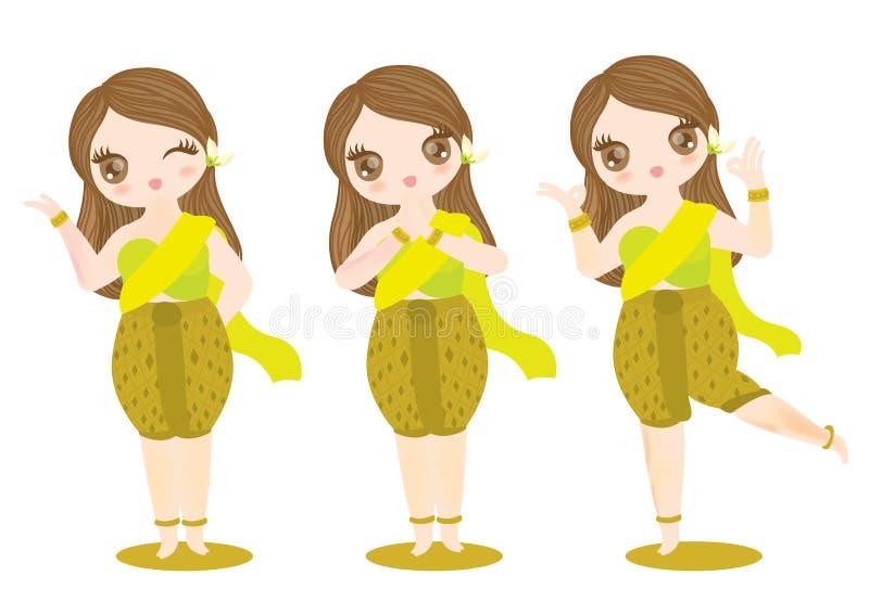 Charakter tajlandzka dziewczyna royalty ilustracja
