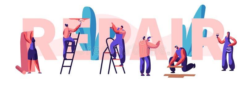 Charakter-Verlegenheits-Haus-, Büro-oder Geschäfts-Fahne Diagnose und Reparatur des Problems in einem Haus Klebt Tapete und malt  lizenzfreie abbildung