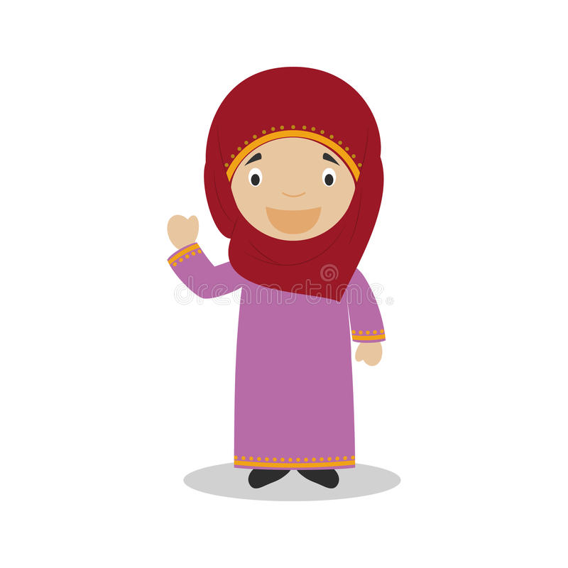 Charakter von Katar kleidete auf die traditionelle Art an stock abbildung