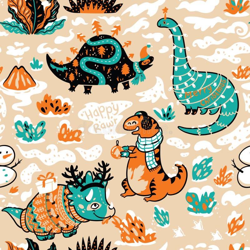 Charakter zimy dinosaury z girlandą i prezentami wektor bezszwowy wzoru royalty ilustracja